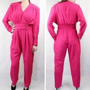 ✨VTG✨ 80s Hot Pink Jumpsuit * with pockets *